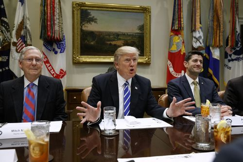 "FILE - In this March 1, 2017 file photo, President Donald Trump, flanked by Senate Majority Leader Mitch McConnell of Ky., left, and House Speaker Paul Ryan of Wis., speaks during a meeting with House and Senate leadership, in the Roosevelt Room of the White House in Washington. Repeal and replace ""Obamacare."" Just repeal. Or let it fail _ maybe with a little nudge. President Donald Trump has sent a flurry of mixed messages, raising questions about the White House strategy on health care. (AP Photo/Evan Vucci, File) (Photo: Evan Vucci, AP)"